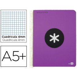 Bloc Antartik A5+ Cuadrícula tapa Dura 100g/m2 color Violeta con margen