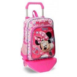 Mochila Minnie Mouse Fabulous Microfibra 29x38x12 cm Rosa con ruedas
