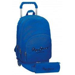 Mochila Pepe Jeans Harlow Poliéster 42,5x30,5x15 cm Azul con ruedas + estuche escolar