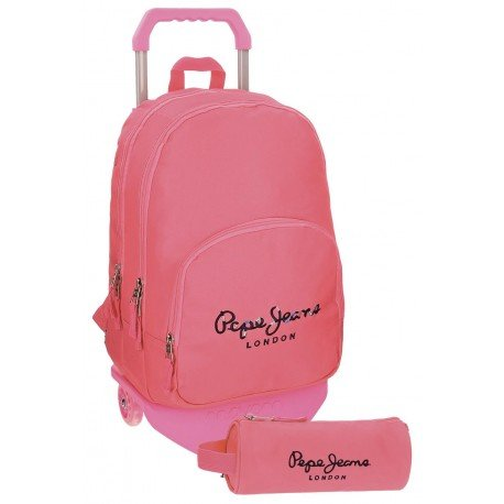 Mochila Pepe Jeans Harlow Poliéster 42,5x30,5x15 cm Rosa con ruedas + estuche escolar