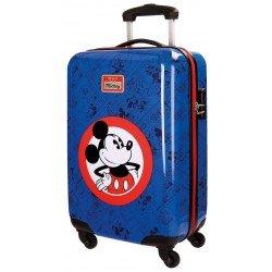 Maleta de cabina 55x37x20 cm Rígida con 4 ruedas Hello Mickey Azul