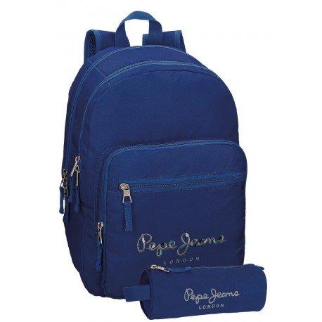 Mochila Pepe Jeans Harlow Poliéster 42,5x30,5x15 cm Azul Marino + estuche escolar