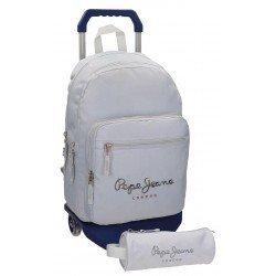 Mochila Pepe Jeans Harlow Poliéster 42,5x30,5x15 cm Gris con ruedas + estuche escolar