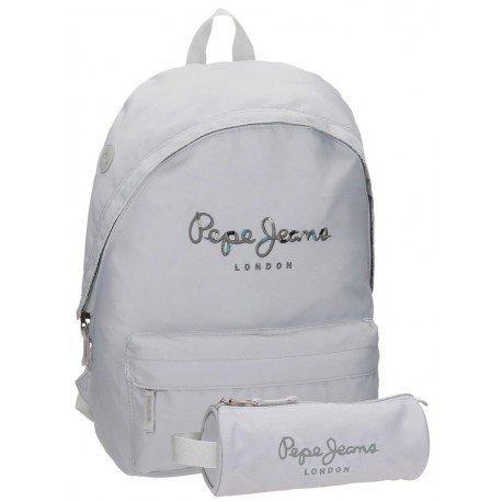 Mochila Pepe Jeans Harlow Poliéster 42x31x17,5 cm Gris + estuche escolar