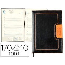 Agenda 2018 Dorios Dia pagina 170x240 mm Negro y naranja Liderpapel