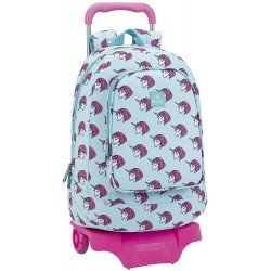 CARTERA ESCOLAR CON CARRO SAFTA MOOS UNICORN 330X420X150 MM