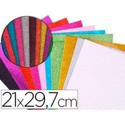 Goma Eva Autoadhesiva Colores surtidos con purpurina 22x30 cm Bolsa 10 uds