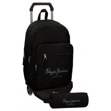 Mochila Pepe Jeans Poliéster 42x30x15 cm Harlow Negro con ruedas + estuche escolar