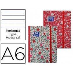 Cuaderno Oxford A6+ Floral Tapa Extradura con gomilla Rayado Horizontal NO SE PUEDE ELEGIR