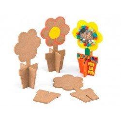 Figura de madera Macetero y flor para pintar