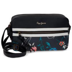 Bandolera 25x15x6,5 cm Pepe Jeans Pasqui negra doble compartimento