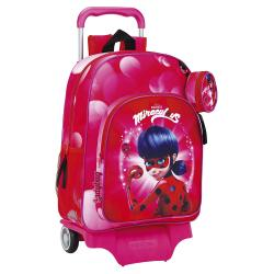 CARTERA ESCOLAR CON CARRO SAFTA LADYBUG MARINETTE 330X420X150 MM