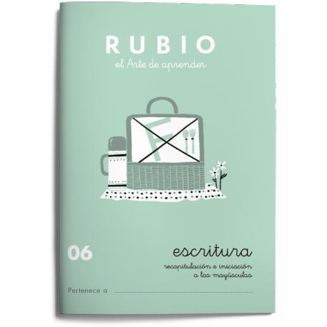 Cuaderno Rubio Escritura nº 06 Recapitulación e iniciación a las mayúsculas 20 páginas
