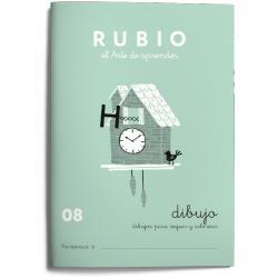 Cuaderno Rubio Escritura nº 08 Dibujos para seguir y colorear 20 páginas