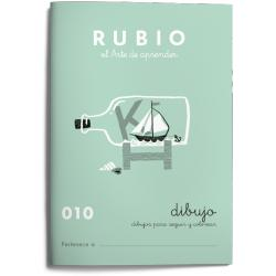 Cuaderno Rubio Escritura nº 010 Dibujos para seguir y colorear 20 páginas