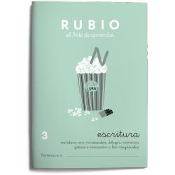Cuaderno Rubio Escritura nº 3 Minúsculas, dibujos, números, grecas e iniciación a las mayúsculas con letra continua
