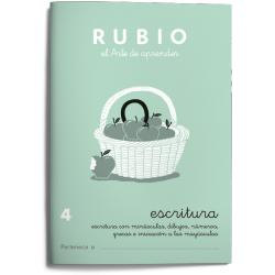 Cuaderno Rubio Escritura nº 4 Minúsculas, dibujos, números, grecas e iniciación a las mayúsculas con letra continua