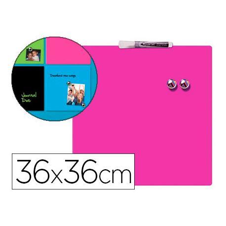 Pizarra Rosa Magnetica sin marco 36x36 Rexel
