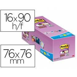 BLOC DE NOTAS ADHESIVAS QUITA Y PON POST-IT SUPER STICKY AMARILLO CANARIO 76X76 MM PACK DE 16 UNIDADES