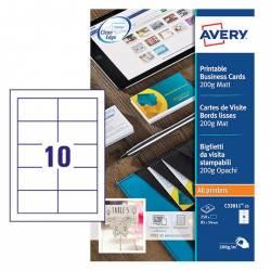 Tarjeta de visita Avery Microperforada 200g/m2 85x54mm Blanco 250 Unidades