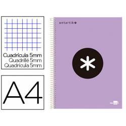 Bloc Antartik A4 Cuadricula 5mm tapa dura 100g/m2 color lila lavanda 5 bandas color