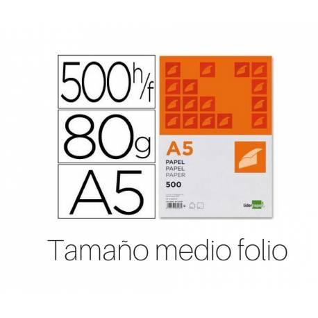 Papel Din A5 Liderpapel 80 g/m2 500 hojas tamaño medio folio