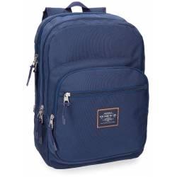 Mochila Escolar Pepe Jeans 44x30x15 cm en Poliester Cross Doble compartimento Azul Adaptable a carro