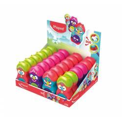 Sacapuntas Plástico Maped Loopy Totem Con goma de borrar Expositor 24 unidades Colores Surtidos
