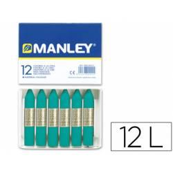 Lapices cera blanda Manley caja 12 unidades color verde azulado