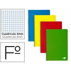 Cuaderno espiral papercop tapa extradura folio 80 hojas cuadriculado 4mm (NO SE PUEDE ELEGIR COLOR)