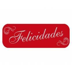 Etiqueta para regalo Arguval Felicidades Rollo de 250 unidades Rojo