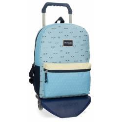 Mochila escolar Movom 42x31x17,5 cm en Poliéster wink azul con carro
