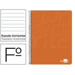 Cuaderno Espiral Liderpapel Write Tamaño Folio Rayado Horizontal de Color Naranja