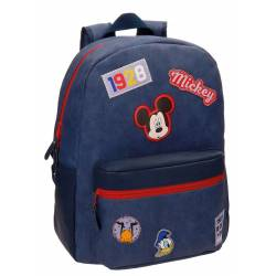 Mochila Escolar Mickey 40x30x16 cm en Piel Sintetica Parches Adaptable a carro