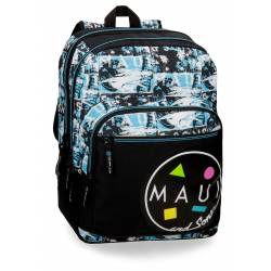 Mochila escolar Maui 43x31x15 cm en poliester Shark doble compartimento adaptable a carro