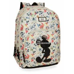 Mochila escolar Mickey 44x32x22 cm en poliéster True Original doble compartimento adaptable a carro